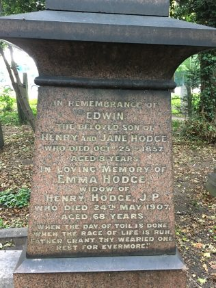 Henry Hodge family gravestone: Edwin and Emma Hodge : Hull General Cemetery | Christopher Hill September 2020
