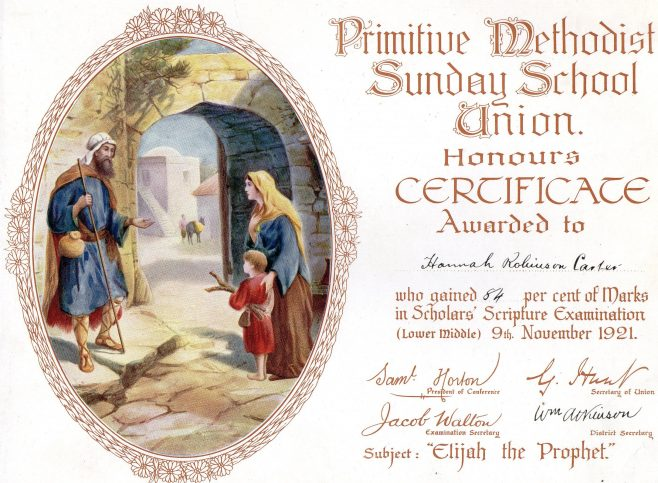 Awarded to Hannah Robinson Carter at Mainsforth Terrace PM chapel, Sunderland | Image from the collections of the Newcastle upon Tyne District Archives