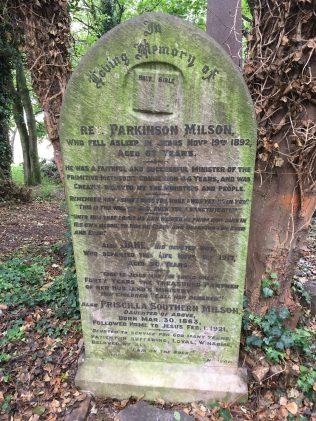 Rev Parkinson Milson gravestone 1892: Hull General Cemetery | Christopher Hill September 2020