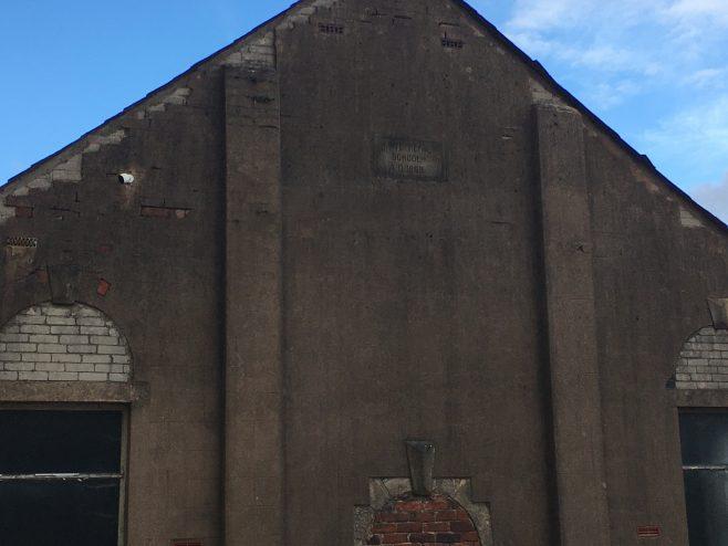 Datestone  of the Darwen Sandhills Primitive Methodist school-chapel, Lark Street. | David Foster October 2020