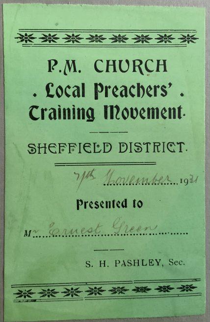 Primitive Methodist Sheffield District Local Preachers book label