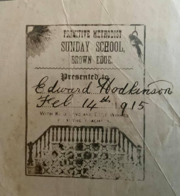 Bookplate from Brown Edge Sunday School | Provided by Steve Wild