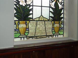 Window in Cosby Methodist Church in memory of Jim