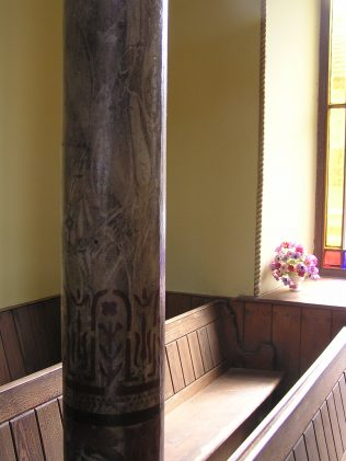 Detail of cast iron column painted to look like marble (August 2013) | David Noble