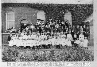 Bill (far right in panama hat), children of the Sunday School and members of the Cosby PM chapel 1905