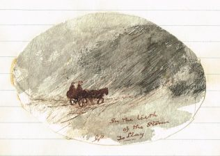 'In the teeth of the storm to Llay', watercolour by John Phillipson to illustrate his article | Englesea Brook Museum