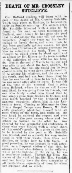 1 August 1902 Death of Crossley Sutcliffe | British Newspaper Archive  Bedfordshire Times and Independent