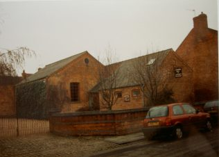 Remaining buildings of the 1873 Newark Primitive Methodist Church, Parliament Street, as they were in 1996. The chapel was closed in the 1960s; Keith Guyler's notes say