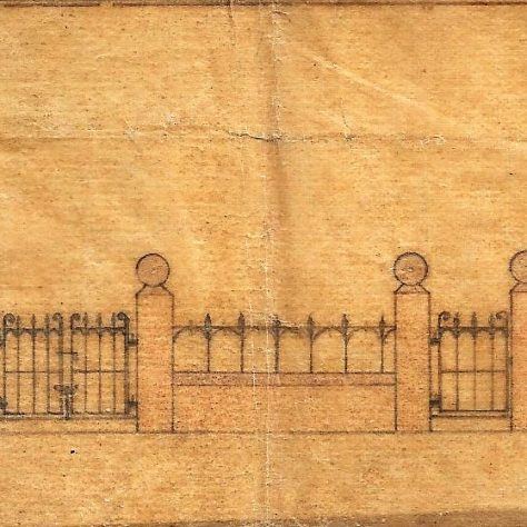 Design of the railings at front of Chapel