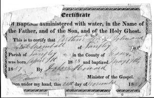 Baptism certificate of Arthur Wombwell, 1857