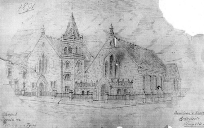 Architect's sketch of proposed new chapel, Coldwell Street, Felling | Bede Circuit Archive Collections