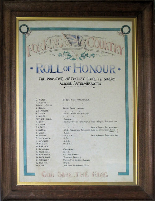 Roll of Honour in Aston Abbotts Primitive Methodist chapel   https://buckinghamshireremembers.org.uk/memorials/p5.htm