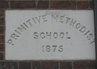 Primitive Methodist School plaque on building in Chapel Lane