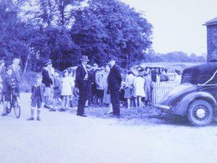 Congregation gathers for a special service circa 1950