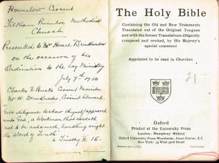 Bible presented to Horace Drinkwater, Feltham, 1930 | Englesea Brook Museum
