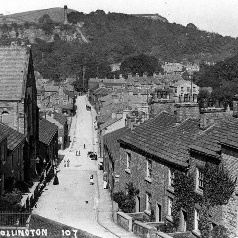 Photo 1. Bollington High Street, 1920. The Primitive Methodist Church is on the left-hand side.