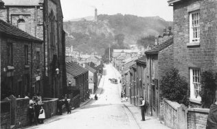 Photo 2. Bollington High Street. 1890. The Primitive Methodist Church is in the left-hand foreground.
