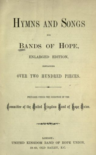 Title page of Hymns and Songs for Bands of Hope