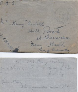 Letter from G H Batty to Harry Carlill