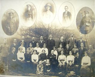 glass slide 2 Group of Members in 1916 in the back garden behind the chapel   ENBPM:2008.058