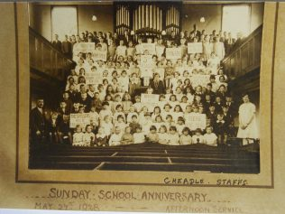 Cheadle Charles Street Primitive Methodist chapel Sunday School Anniversary afternoon service 1928 | Englesea Brook Museum picture and postcard collection