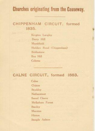 Primitive Methodist chapels originating from the Causeway | Causeway Centenary Handbook 1932