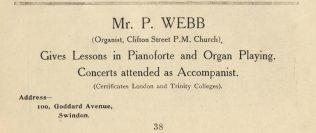 Advertisement by Mr P Webb | Swindon Centenary Synod Handbook 1925