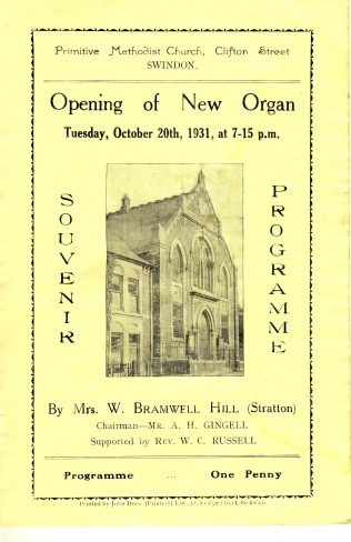 Clifton Street, Swindon, organ opening programme | Christopher Hill