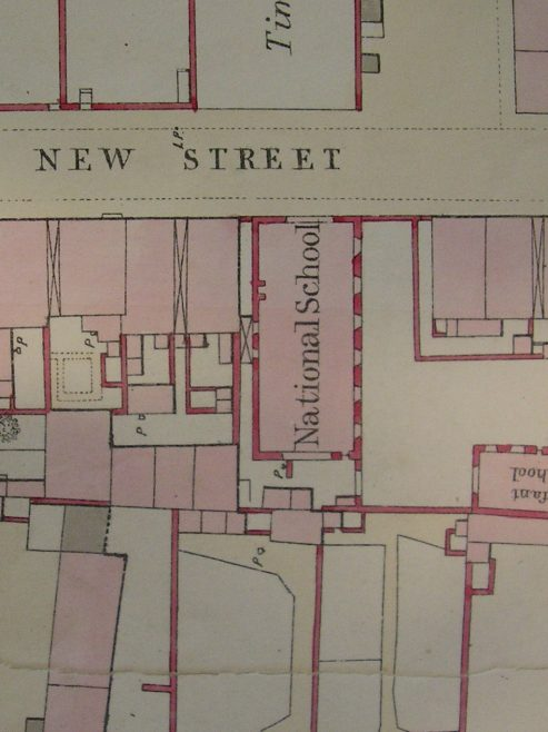 Cockermouth, New Street National School (PM Chapel from 1885) ground plan from OS 1 to 500 Cumberland XXIX 5 25 circa 1860 I.