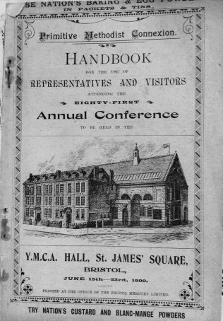 Cover of the Conference Handbook from the 81st Primitive Methodist Conference held in Bristol in 1900 | Englesea Brook Museum collection