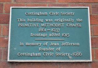 plaque marking Cottingham Primitive Methodist chapel | Christopher Hill August 2017