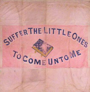 Cox Bank Sunday School banner (reverse) | Englesea Brook Museum