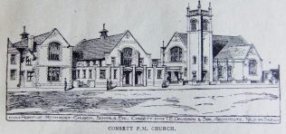 Architects drawing of Consett Primitive Methodist chapel and schools, Station Road   Christian Messenger 1922/48