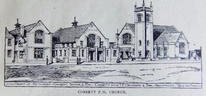Architects drawing of Consett Primitive Methodist chapel and schools, Station Road | Christian Messenger 1922/48