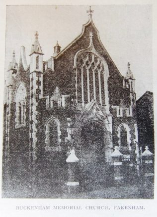 Fakenham Buckenham Memorial Primitive Methodist chapel | Christian Messenger 1923/267