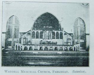 Parkhead Waddell Memorial Primitive Methodist chapel interior | Christian Messenger 1902/258
