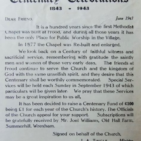 Information relating to the 1943 Centenary