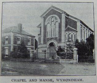 Wymondham Primitive Methodist chapel and manse   Christian Messenger 1908/249