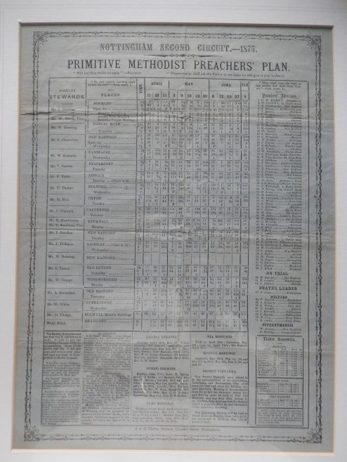 A Primitive Methodist Circuit Plan from 1875 (with both Bulwell and Bulwell Mission Building listed, the latter being a 'Tin Tabernacle'