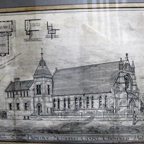 The line drawing of Edenfield Primitive Methodist Chapel as drawn by Mr. J.D. Mould in 1881