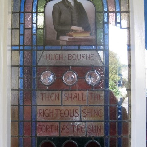 One of the stain glass windows installed between the vestibule and the worship area in 1949