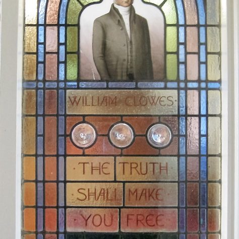 This stain glass window was also installed between the Vestibule and the worship area in 1949