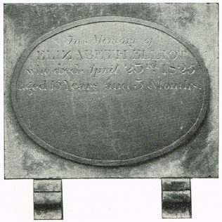 Tablet in Oswestry chapel burial ground c1900, removed from old chapel