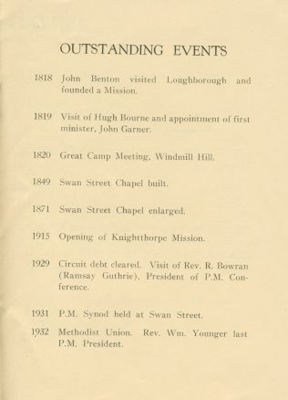 Swan St Loughborough outstanding events | Swan Street Centenary Handbook 1949