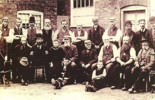 Framework knitters outside the old chapel, 1885. The chapel door can be seen on the right | Ruddington Framework Knitters' Museum