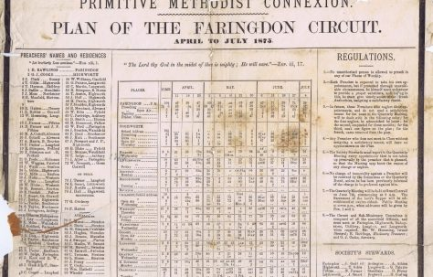 Faringdon Circuit Primitive Methodist Preachers' Plan