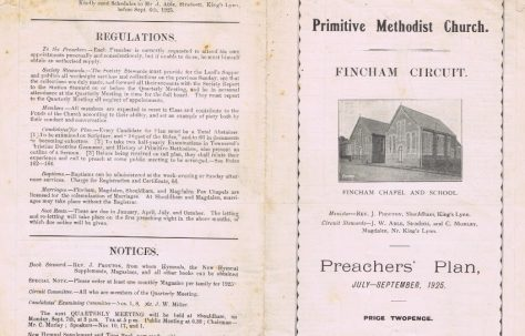 Fincham Circuit Primitive Methodist Preachers' Plan