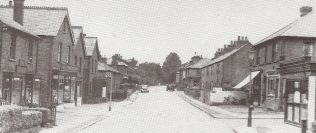 St Johns Road in the 1960s. The white wall on the right with the bicycle leaning against it is the boundary of the chapel site.