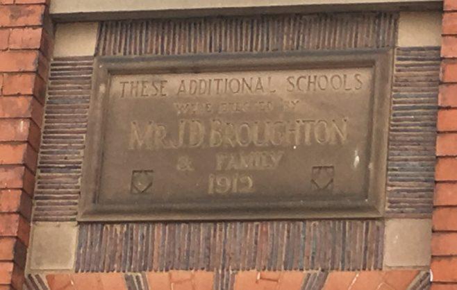 school datestone of former Wigston Moat Street Primitive Methodist chapel | Christopher Hill August 2018