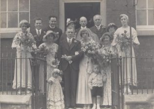 The wedding of George Astbury and Ethel Cookson at Englesea Brook Chapel in 1935